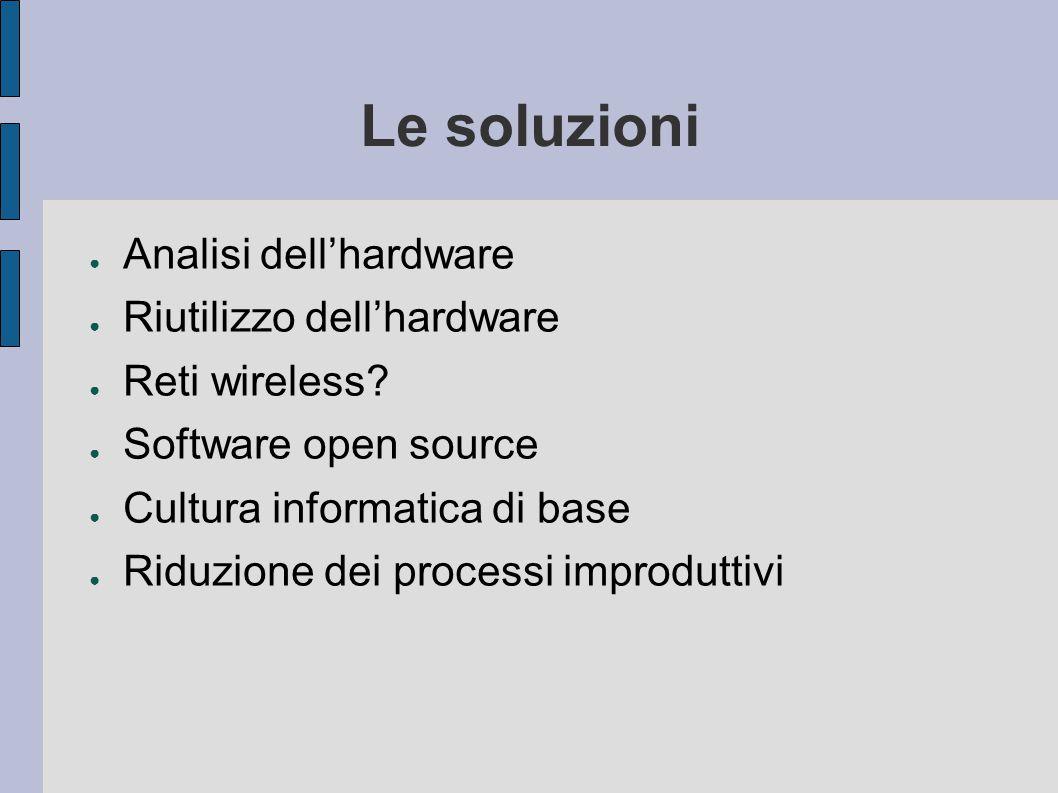 Le soluzioni ● Analisi dell'hardware ● Riutilizzo dell'hardware ● Reti wireless.