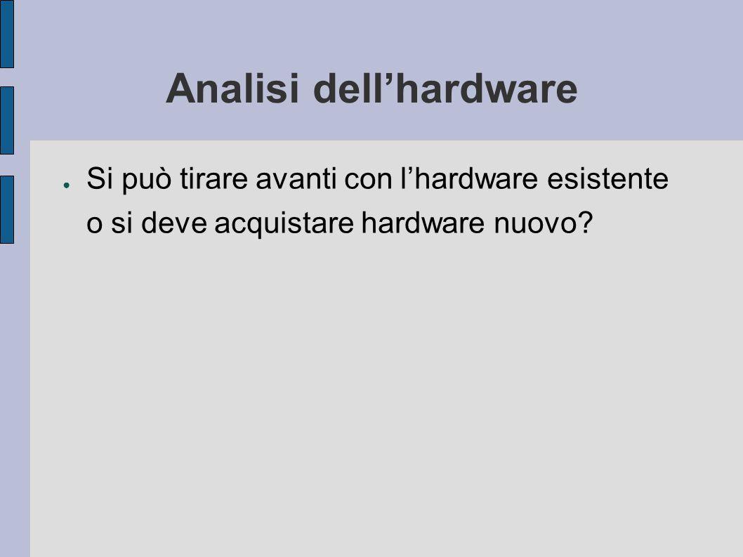Analisi dell'hardware ● Si può tirare avanti con l'hardware esistente o si deve acquistare hardware nuovo?