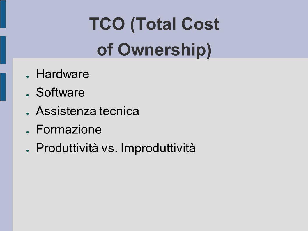 TCO (Total Cost of Ownership) ● Hardware ● Software ● Assistenza tecnica ● Formazione ● Produttività vs.