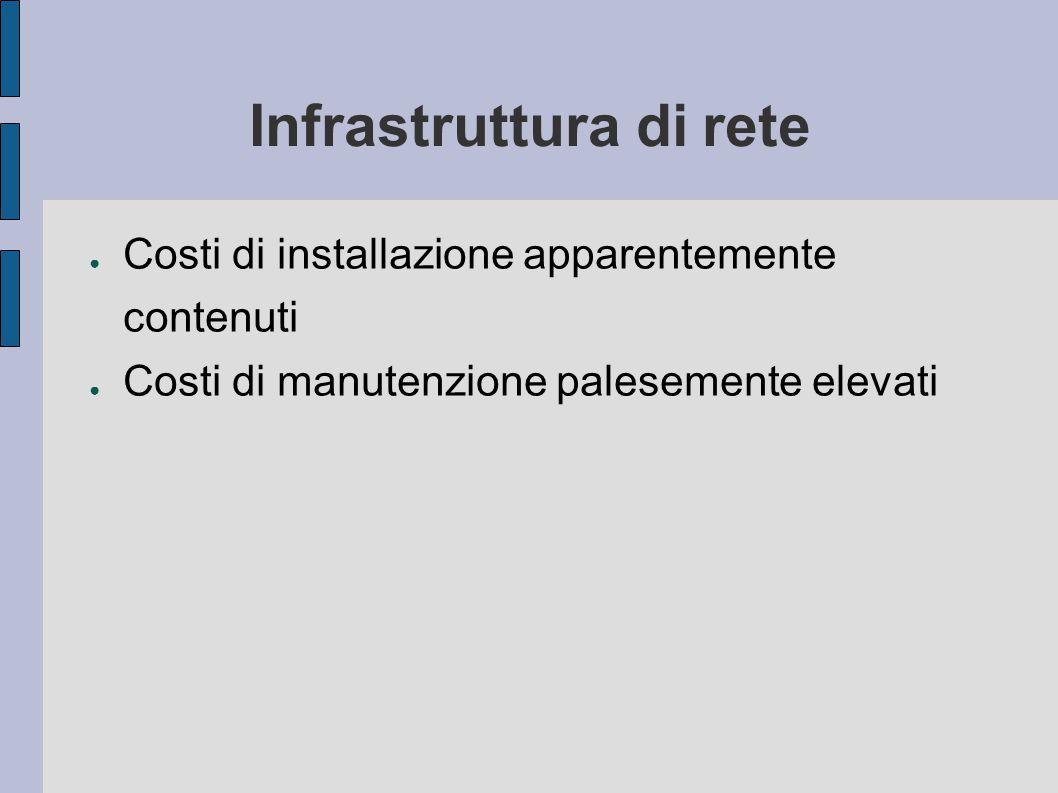 Infrastruttura di rete ● Costi di installazione apparentemente contenuti ● Costi di manutenzione palesemente elevati