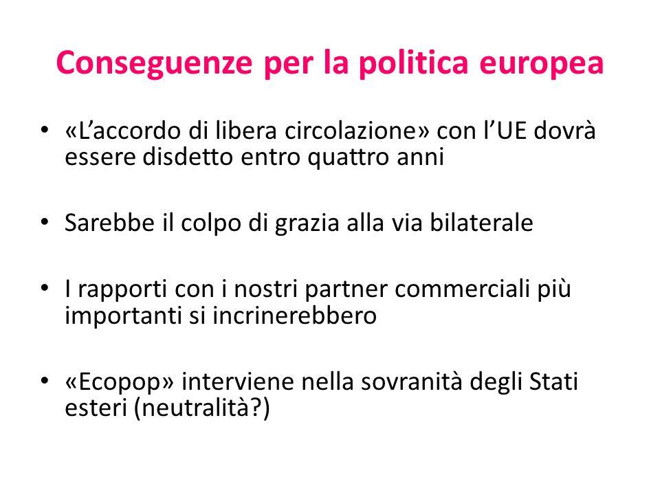 Conseguenze per la politica europea «L'accordo di libera circolazione» con l'UE dovrà essere disdetto entro quattro anni Sarebbe il colpo di grazia al