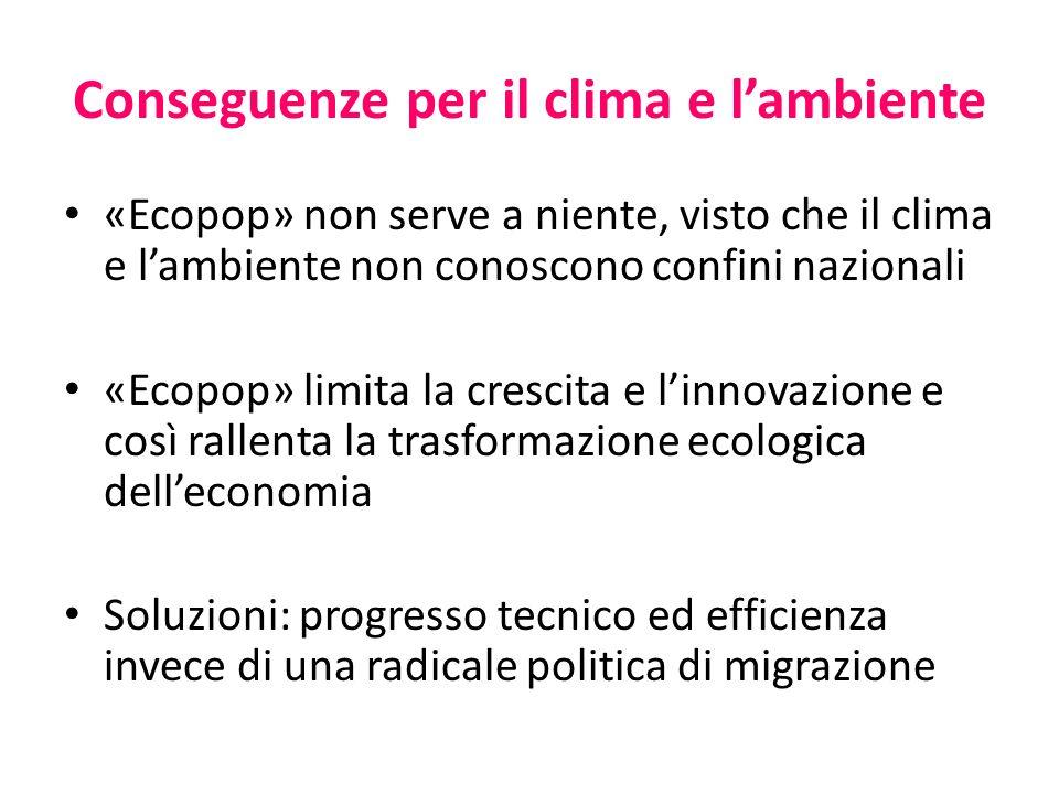 Conseguenze per il clima e l'ambiente «Ecopop» non serve a niente, visto che il clima e l'ambiente non conoscono confini nazionali «Ecopop» limita la