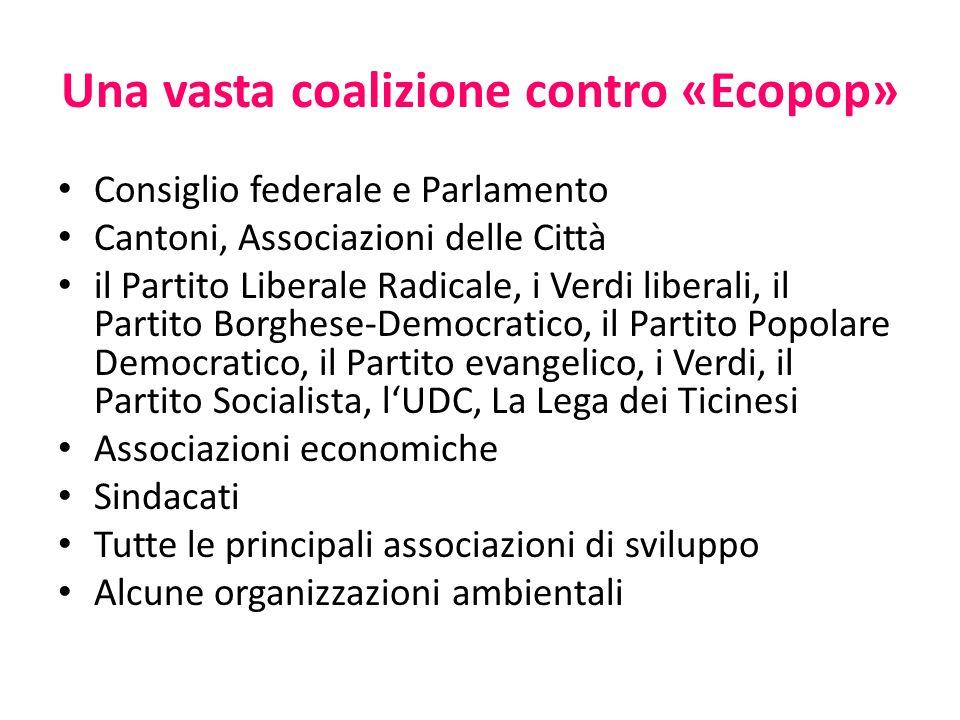 Una vasta coalizione contro «Ecopop» Consiglio federale e Parlamento Cantoni, Associazioni delle Città il Partito Liberale Radicale, i Verdi liberali,