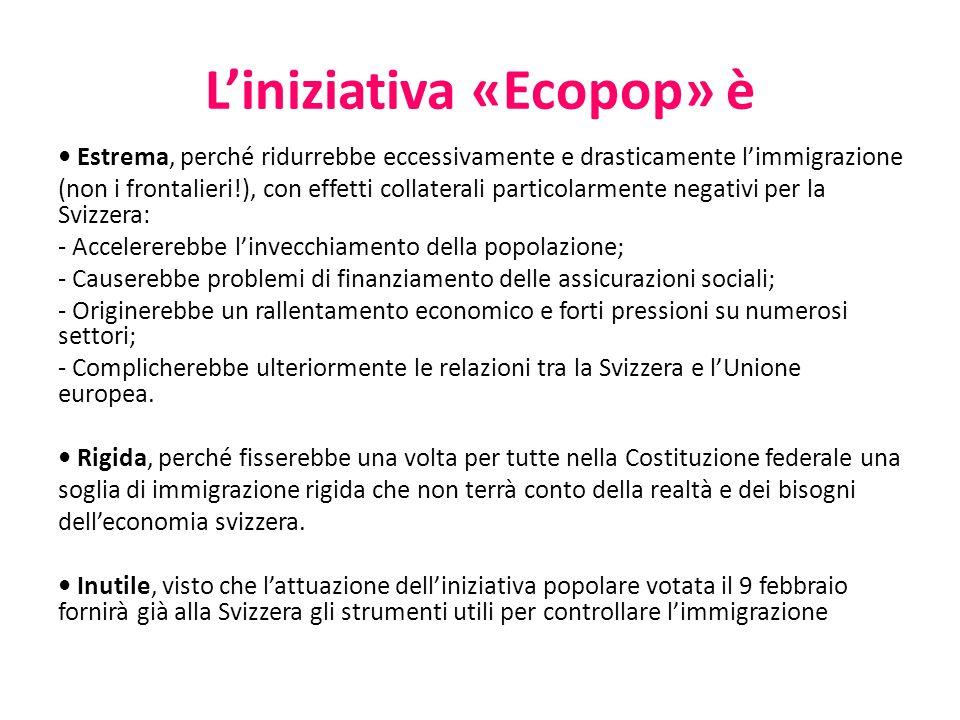 L'iniziativa «Ecopop» è Estrema, perché ridurrebbe eccessivamente e drasticamente l'immigrazione (non i frontalieri!), con effetti collaterali partico