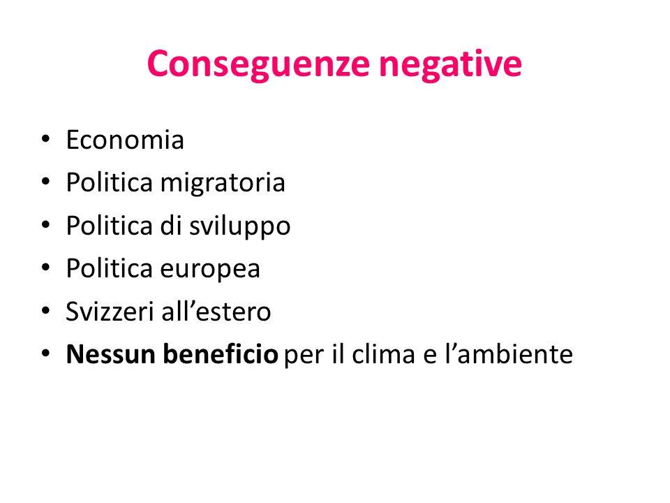 Conseguenze negative Economia Politica migratoria Politica di sviluppo Politica europea Svizzeri all'estero Nessun beneficio per il clima e l'ambiente