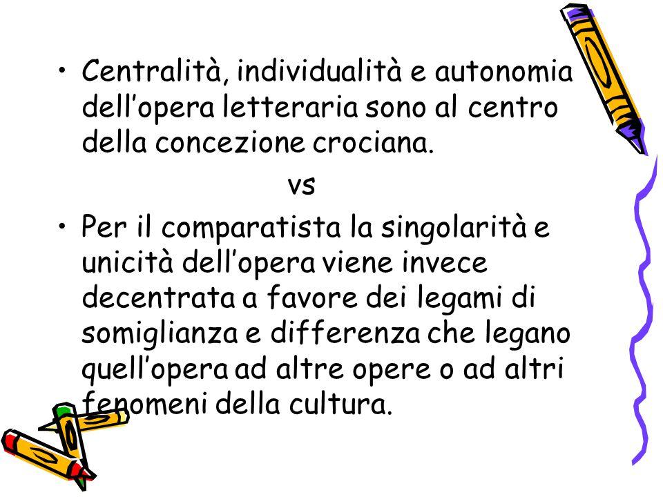 Centralità, individualità e autonomia dell'opera letteraria sono al centro della concezione crociana. vs Per il comparatista la singolarità e unicità