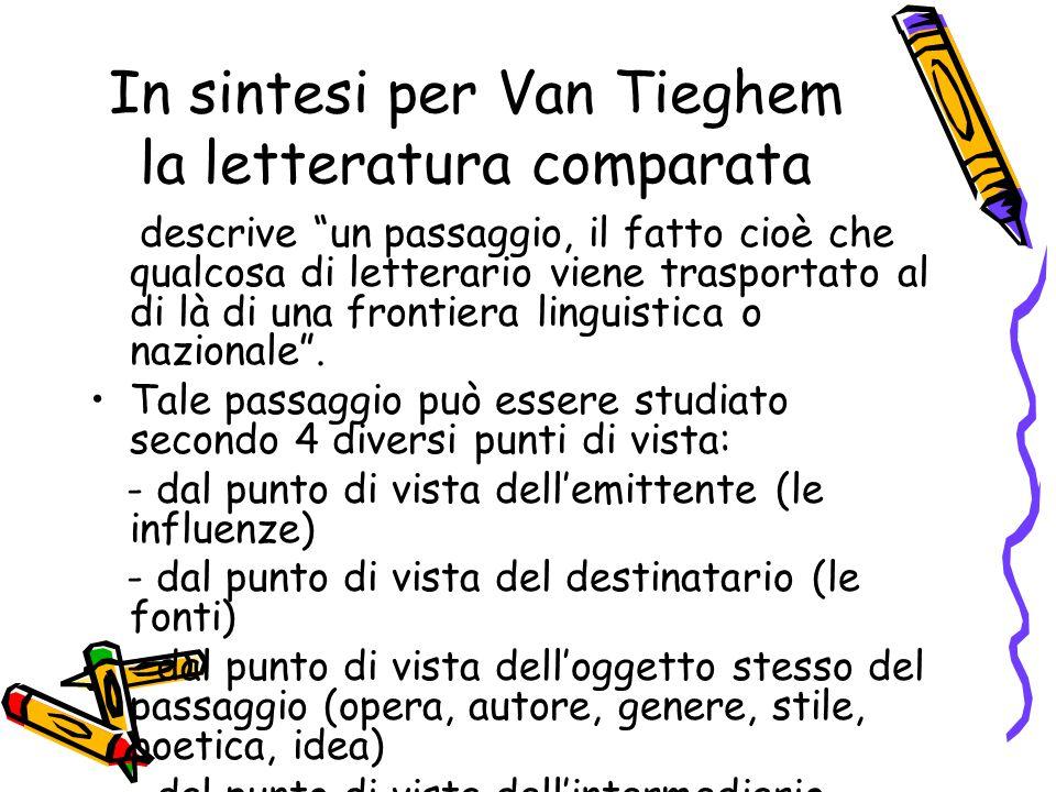 """In sintesi per Van Tieghem la letteratura comparata descrive """"un passaggio, il fatto cioè che qualcosa di letterario viene trasportato al di là di una"""