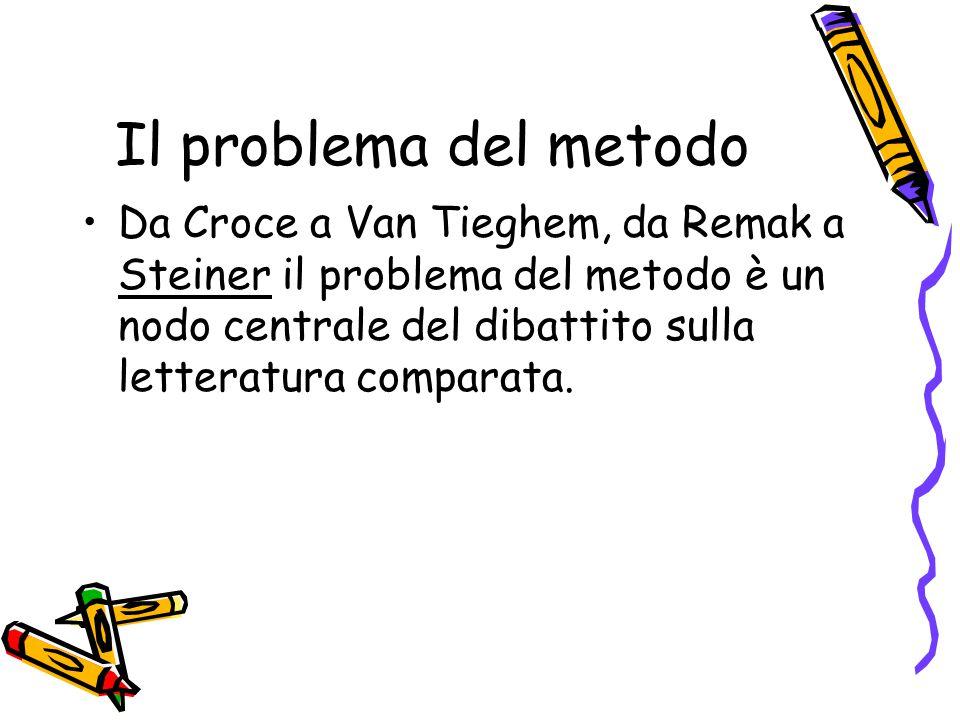 Il problema del metodo Da Croce a Van Tieghem, da Remak a Steiner il problema del metodo è un nodo centrale del dibattito sulla letteratura comparata.