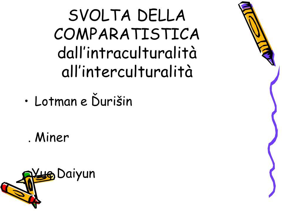 SVOLTA DELLA COMPARATISTICA dall'intraculturalità all'interculturalità Lotman e Ďurišin. Miner Yue Daiyun