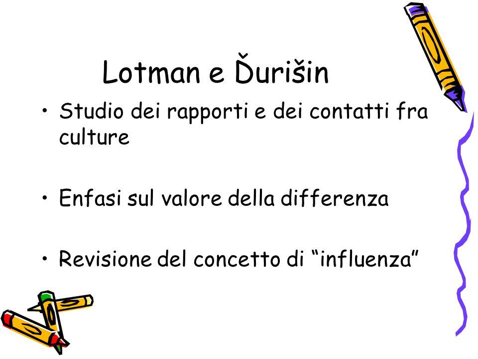 """Lotman e Ďurišin Studio dei rapporti e dei contatti fra culture Enfasi sul valore della differenza Revisione del concetto di """"influenza"""""""