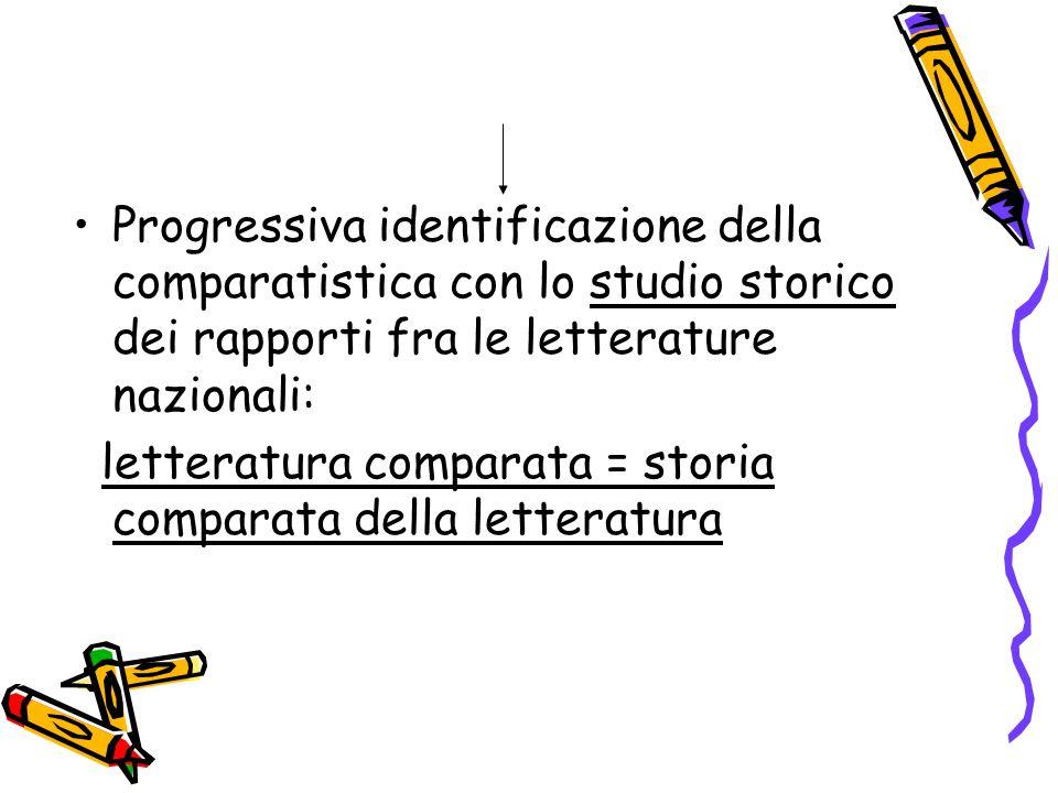 Progressiva identificazione della comparatistica con lo studio storico dei rapporti fra le letterature nazionali: letteratura comparata = storia compa