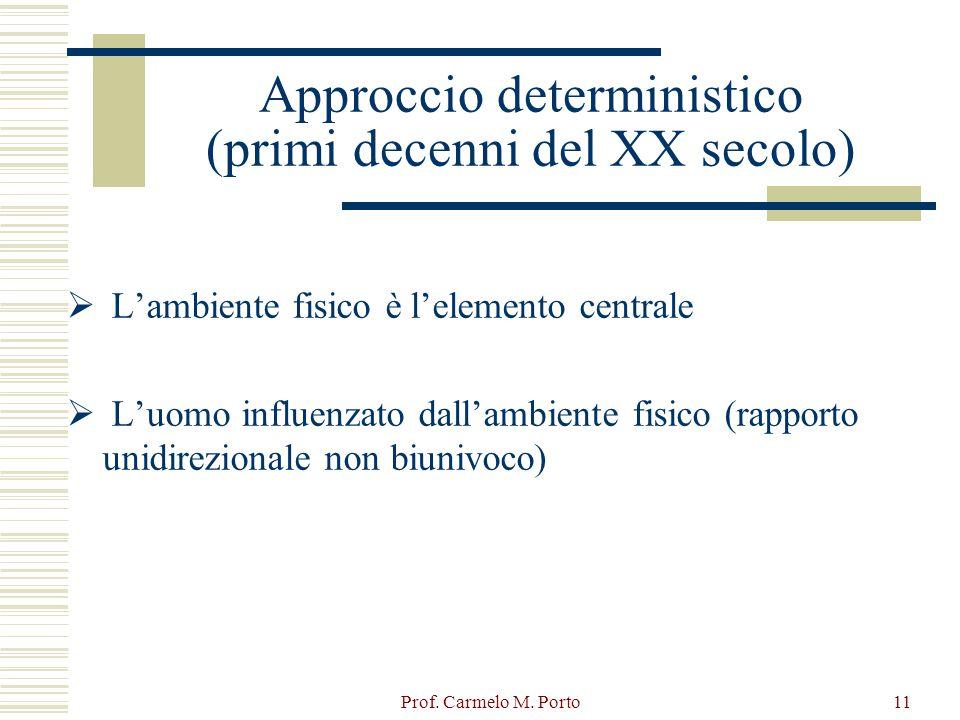 Prof. Carmelo M. Porto11 Approccio deterministico (primi decenni del XX secolo)  L'ambiente fisico è l'elemento centrale  L'uomo influenzato dall'am