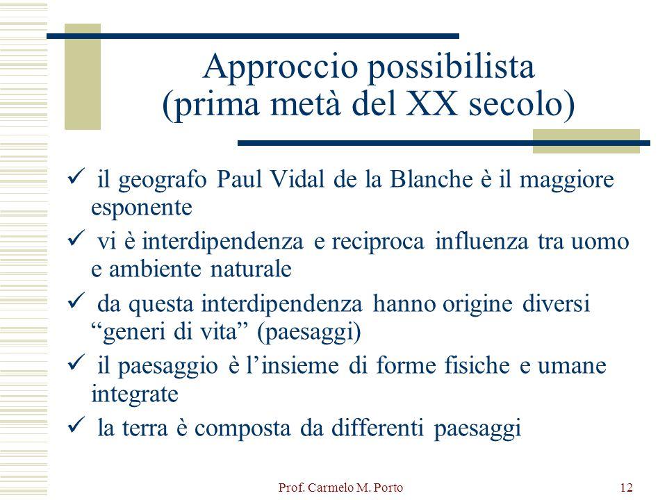 Prof. Carmelo M. Porto12 Approccio possibilista (prima metà del XX secolo) il geografo Paul Vidal de la Blanche è il maggiore esponente vi è interdipe