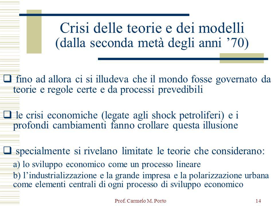 Prof. Carmelo M. Porto14 Crisi delle teorie e dei modelli (dalla seconda metà degli anni '70)  fino ad allora ci si illudeva che il mondo fosse gover