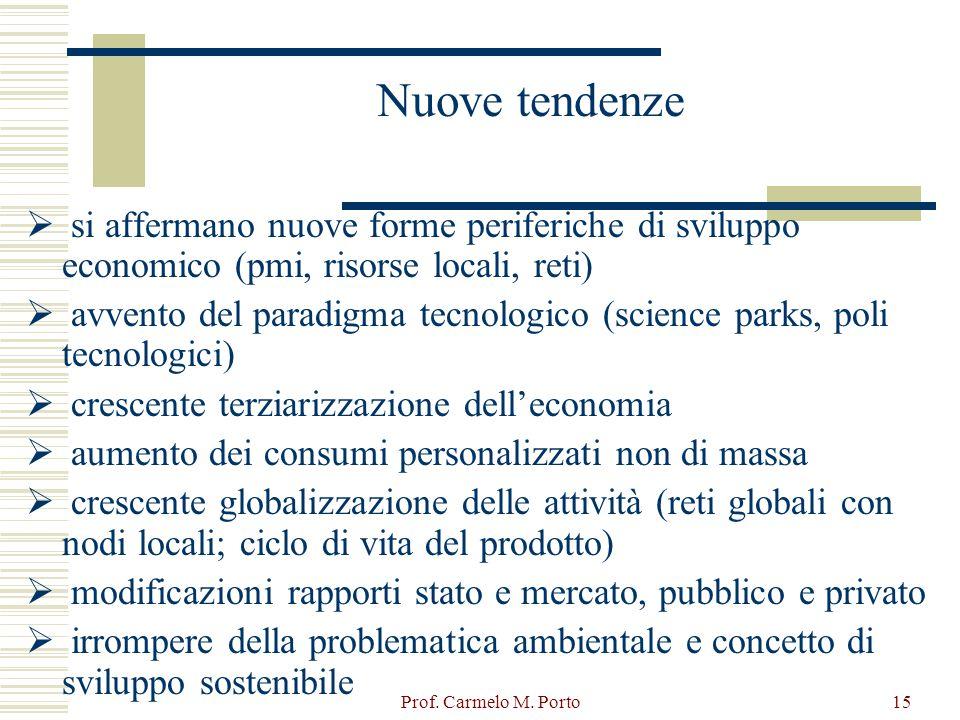Prof. Carmelo M. Porto15 Nuove tendenze  si affermano nuove forme periferiche di sviluppo economico (pmi, risorse locali, reti)  avvento del paradig