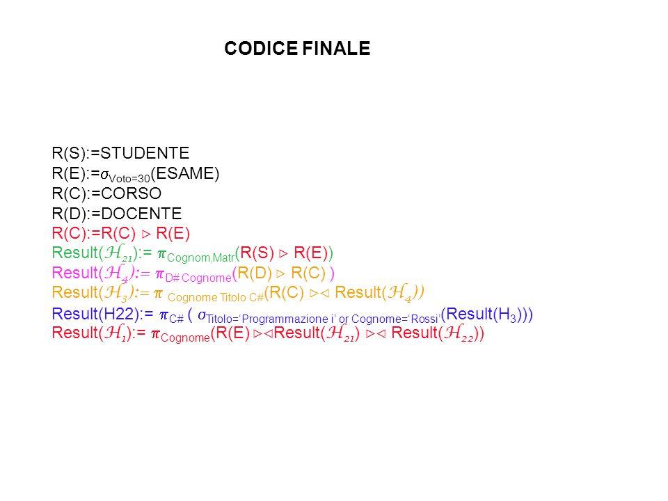 CODICE FINALE R(S):=STUDENTE R(E):=  Voto=30 (ESAME) R(C):=CORSO R(D):=DOCENTE R(C):=R(C)  R(E) Result( H 21 ):=  Cognom,Matr (R(S)  R(E)) Result( H 4 ):=  D# Cognome (R(D)  R(C) ) Result( H 3 ):=  Cognome Titolo C# (R(C)  Result( H 4 )) Result(H22):=  C# (  Titolo='Programmazione i' or Cognome='Rossi' (Result(H 3 ))) Result( H 1 ):=  Cognome (R(E)  Result( H 21 )  Result( H 22 ))