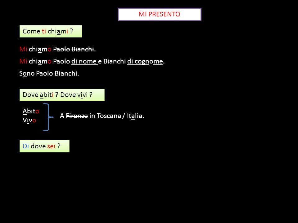 MI PRESENTO Come ti chiami ? Mi chiamo Paolo Bianchi. Mi chiamo Paolo di nome e Bianchi di cognome. Sono Paolo Bianchi. Dove abiti ? Dove vivi ? Abito