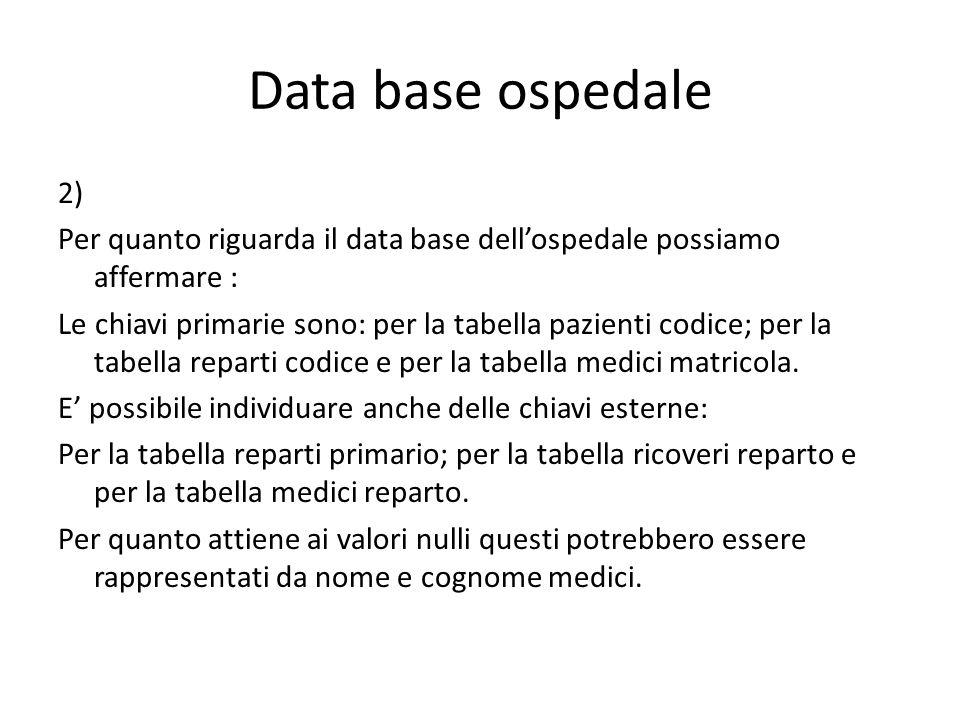 Data base ospedale 2) Per quanto riguarda il data base dell'ospedale possiamo affermare : Le chiavi primarie sono: per la tabella pazienti codice; per la tabella reparti codice e per la tabella medici matricola.