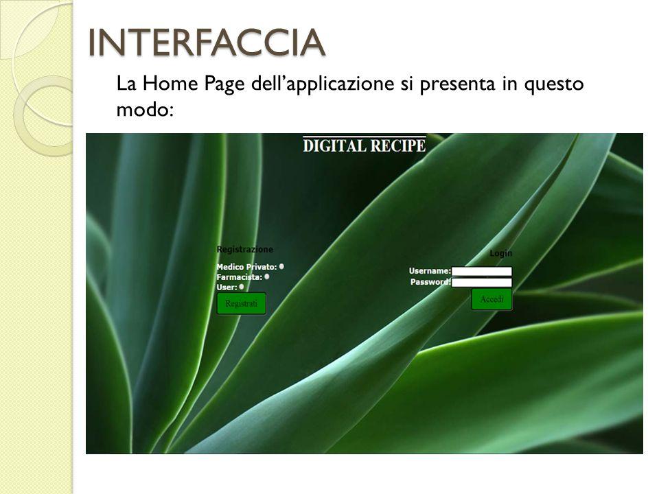 INTERFACCIA La Home Page dell'applicazione si presenta in questo modo: