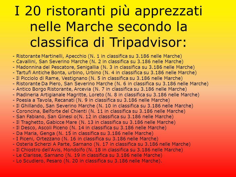 I 20 ristoranti più apprezzati nelle Marche secondo la classifica di Tripadvisor: - Ristorante Martinelli, Apecchio (N. 1 in classifica su 3.186 nelle