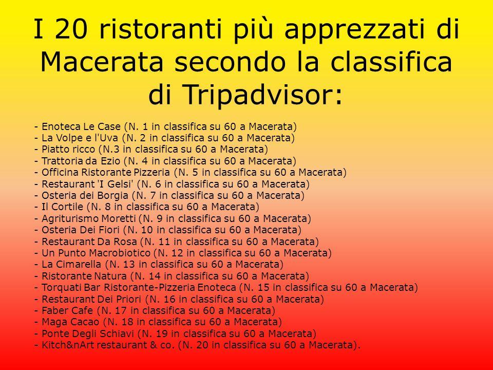 I 20 ristoranti più apprezzati di Macerata secondo la classifica di Tripadvisor: - Enoteca Le Case (N. 1 in classifica su 60 a Macerata) - La Volpe e