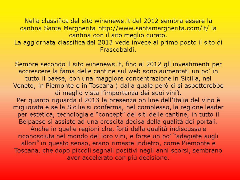 Nella classifica del sito winenews.it del 2012 sembra essere la cantina Santa Margherita http://www.santamargherita.com/it/ la cantina con il sito meg