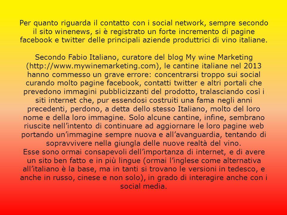 Per quanto riguarda il contatto con i social network, sempre secondo il sito winenews, si è registrato un forte incremento di pagine facebook e twitte