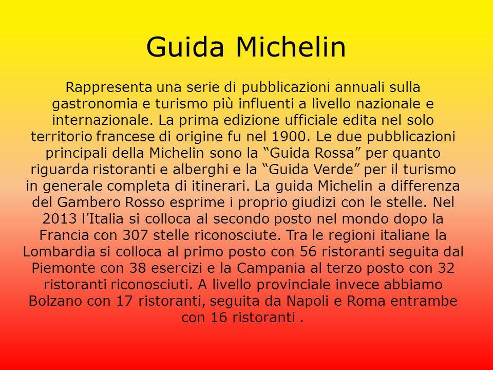 Guida Michelin Rappresenta una serie di pubblicazioni annuali sulla gastronomia e turismo più influenti a livello nazionale e internazionale. La prima