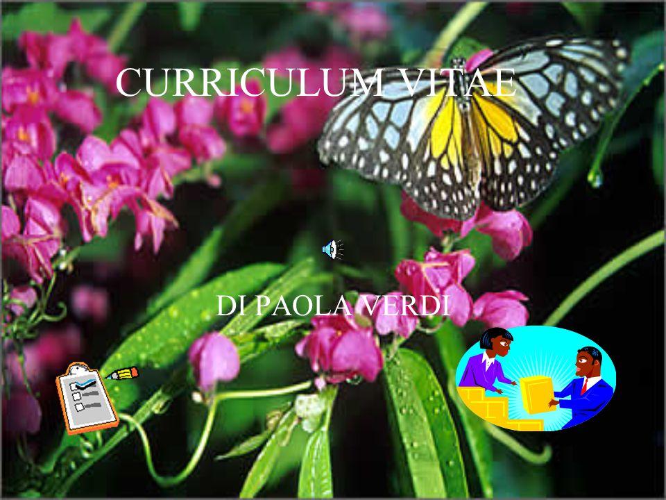 CURRICULUM VITAE DI PAOLA VERDI