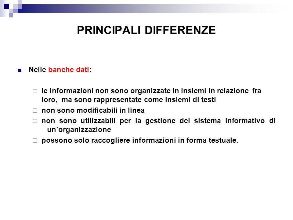 PRINCIPALI DIFFERENZE Nelle banche dati:  le informazioni non sono organizzate in insiemi in relazione fra loro, ma sono rappresentate come insiemi d