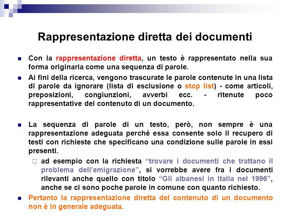 Rappresentazione diretta dei documenti Con la rappresentazione diretta, un testo è rappresentato nella sua forma originaria come una sequenza di parol