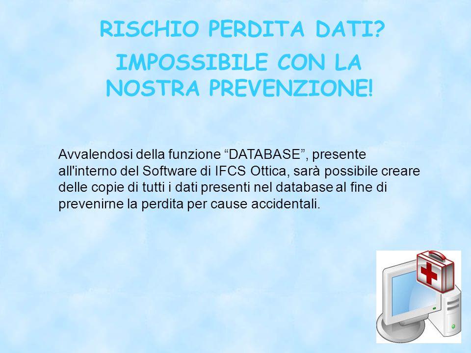 RISCHIO PERDITA DATI. IMPOSSIBILE CON LA NOSTRA PREVENZIONE.