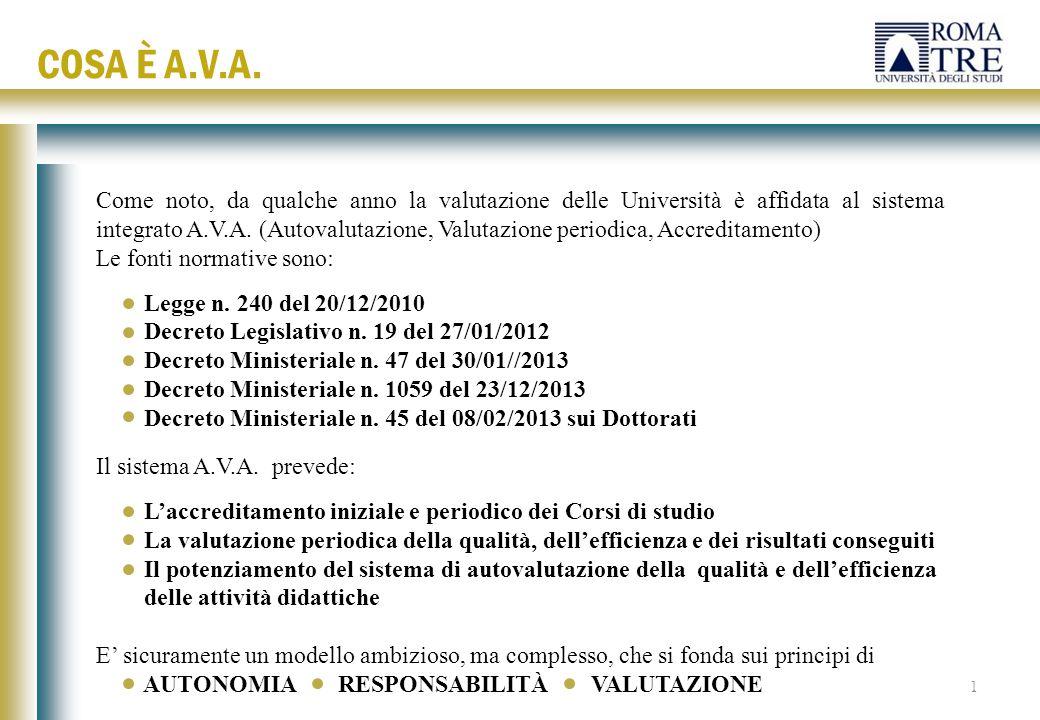 Come noto, da qualche anno la valutazione delle Università è affidata al sistema integrato A.V.A. (Autovalutazione, Valutazione periodica, Accreditame