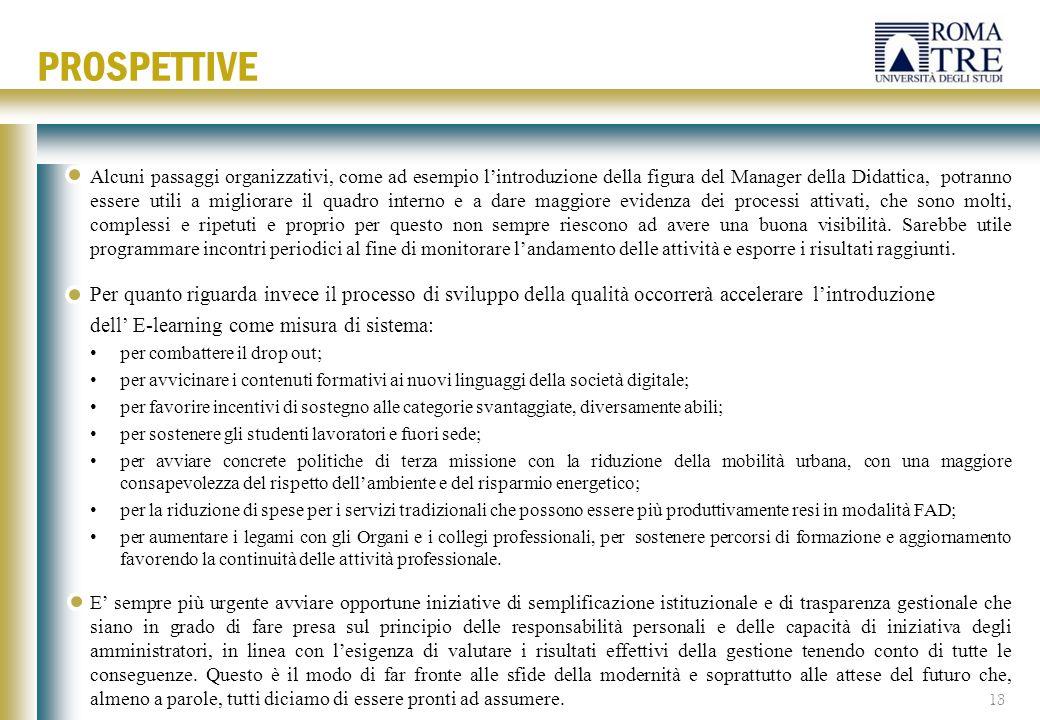 Alcuni passaggi organizzativi, come ad esempio l'introduzione della figura del Manager della Didattica, potranno essere utili a migliorare il quadro i