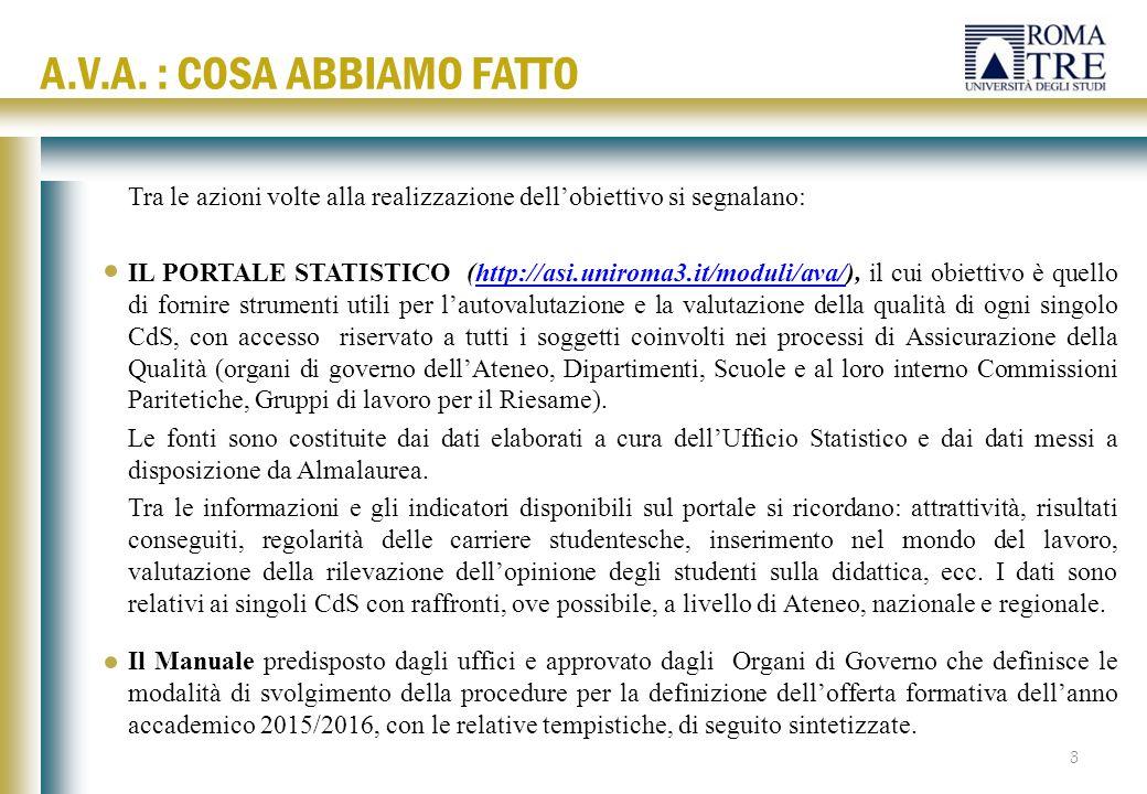 Tra le azioni volte alla realizzazione dell'obiettivo si segnalano: IL PORTALE STATISTICO (http://asi.uniroma3.it/moduli/ava/), il cui obiettivo è que