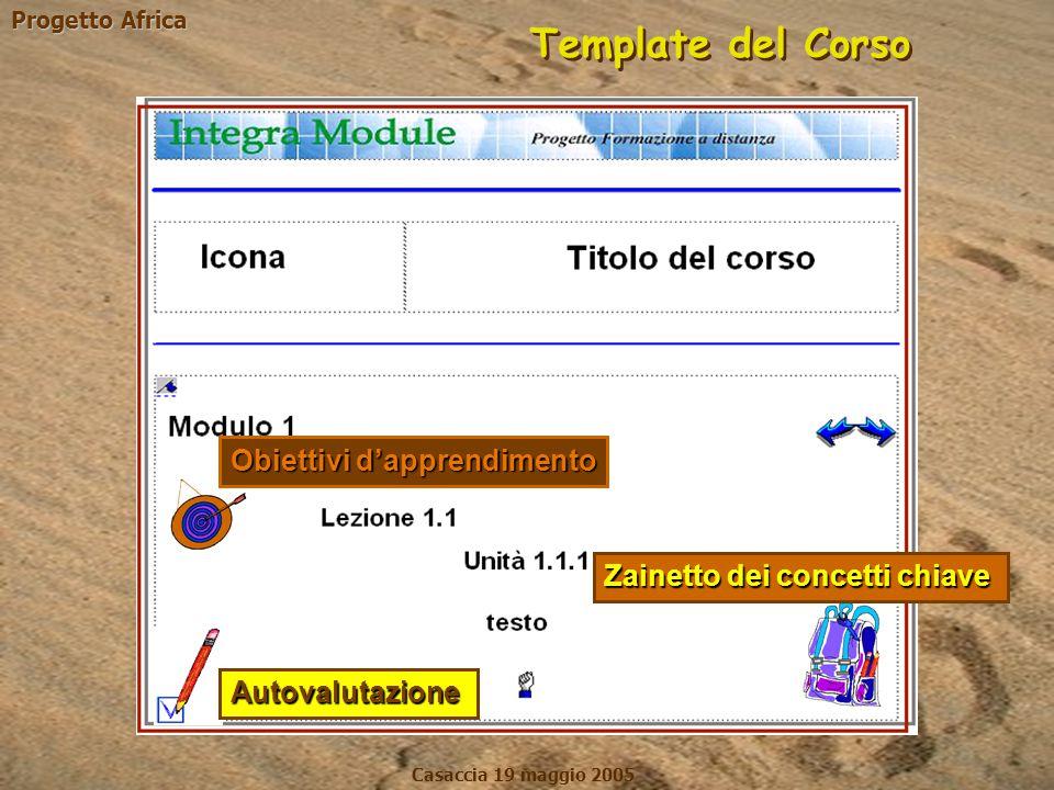 Progetto Africa Casaccia 19 maggio 2005 Template del Corso Autovalutazione Obiettivi d'apprendimento Zainetto dei concetti chiave