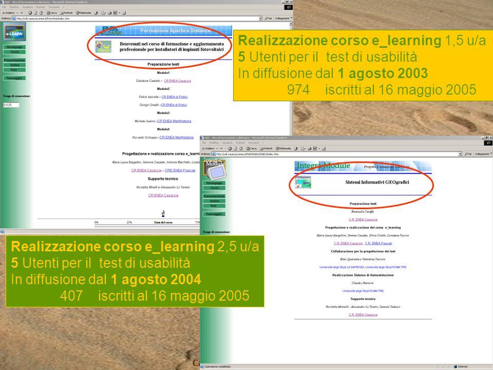 Progetto Africa Casaccia 19 maggio 2005 Realizzazione corso e_learning 1,5 u/a 5 Utenti per il test di usabilità In diffusione dal 1 agosto 2003 974 i