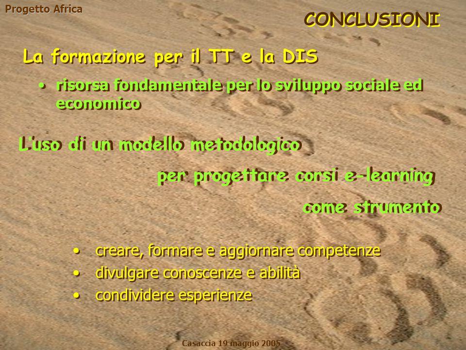 Progetto Africa Casaccia 19 maggio 2005 La formazione per il TT e la DIS come strumento L'uso di un modello metodologico CONCLUSIONI risorsa fondament