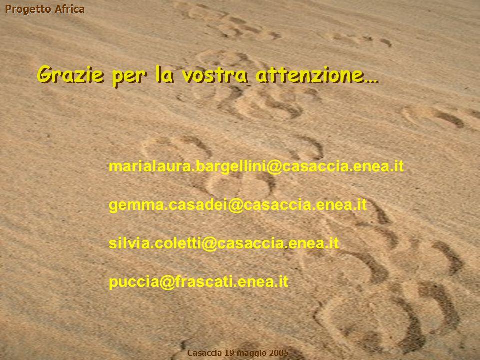 Progetto Africa Casaccia 19 maggio 2005 marialaura.bargellini@casaccia.enea.it gemma.casadei@casaccia.enea.it silvia.coletti@casaccia.enea.it puccia@f