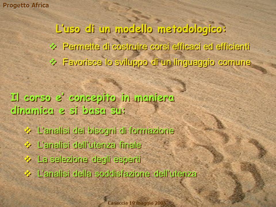 Progetto Africa Casaccia 19 maggio 2005  Permette di costruire corsi efficaci ed efficienti  Favorisce lo sviluppo di un linguaggio comune  Permett