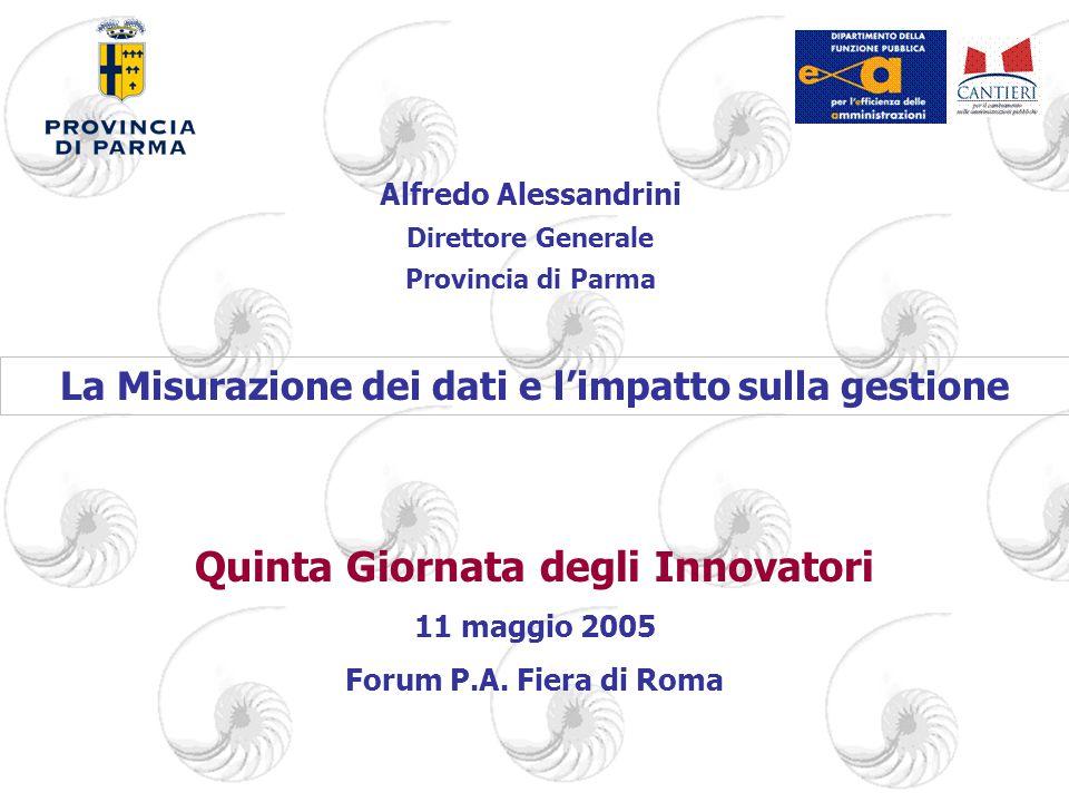 Alfredo Alessandrini Direttore Generale Provincia di Parma Quinta Giornata degli Innovatori 11 maggio 2005 Forum P.A.