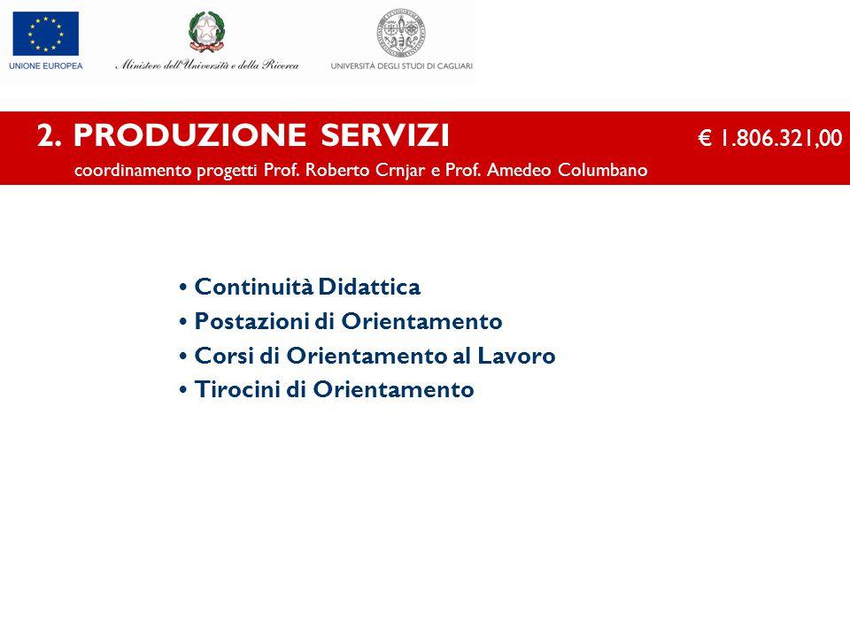 2. PRODUZIONE SERVIZI € 1.806.321,00 coordinamento progetti Prof. Roberto Crnjar e Prof. Amedeo Columbano Continuità Didattica Postazioni di Orientame