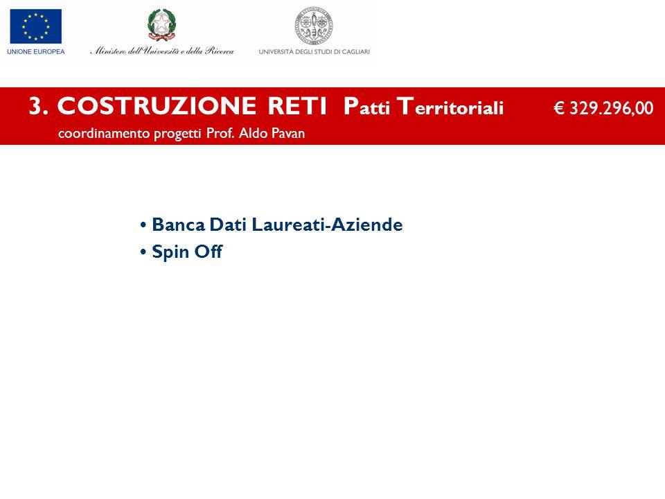 3. COSTRUZIONE RETI P atti T erritoriali € 329.296,00 coordinamento progetti Prof. Aldo Pavan Banca Dati Laureati-Aziende Spin Off