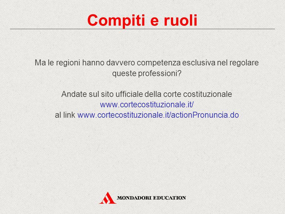 Ma le regioni hanno davvero competenza esclusiva nel regolare queste professioni? Andate sul sito ufficiale della corte costituzionale www.cortecostit