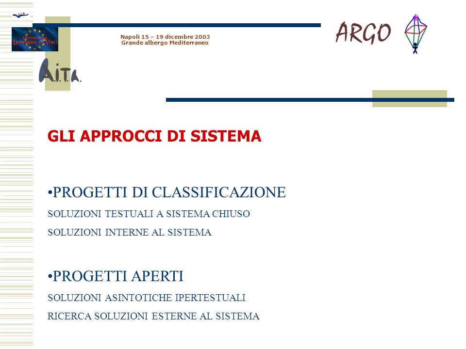 Napoli 15 – 19 dicembre 2003 Grande albergo Mediterraneo GLI APPROCCI DI SISTEMA PROGETTI DI CLASSIFICAZIONE SOLUZIONI TESTUALI A SISTEMA CHIUSO SOLUZIONI INTERNE AL SISTEMA PROGETTI APERTI SOLUZIONI ASINTOTICHE IPERTESTUALI RICERCA SOLUZIONI ESTERNE AL SISTEMA