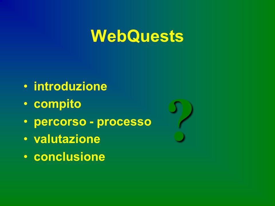 WebQuests introduzione compito percorso - processo valutazione conclusione ?