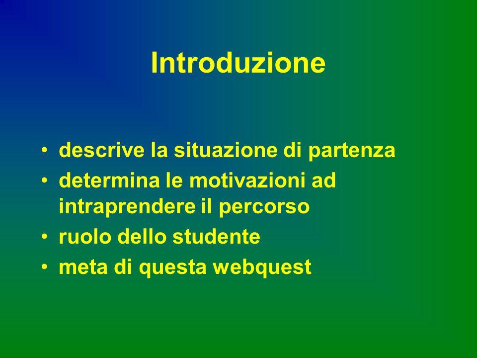 Introduzione descrive la situazione di partenza determina le motivazioni ad intraprendere il percorso ruolo dello studente meta di questa webquest