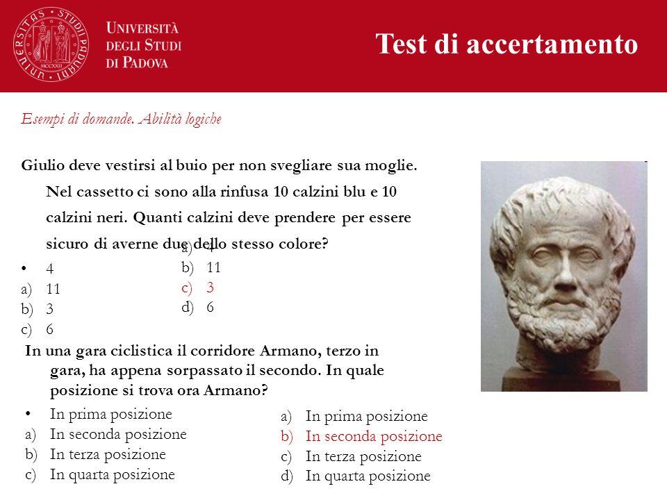 Test di accertamento Esempi di domande.