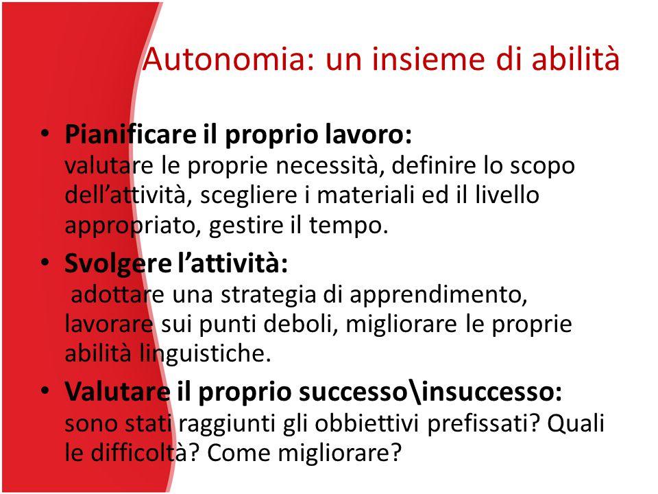 Autonomia: un insieme di abilità Pianificare il proprio lavoro: valutare le proprie necessità, definire lo scopo dell'attività, scegliere i materiali ed il livello appropriato, gestire il tempo.