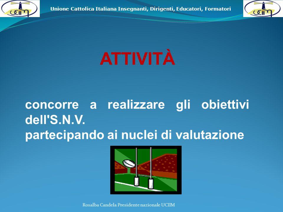 Unione Cattolica Italiana Insegnanti, Dirigenti, Educatori, Formatori Rosalba Candela Presidente nazionale UCIIM ATTIVITÀ concorre a realizzare gli obiettivi dell S.N.V.